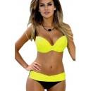 Maillot de bain femme  corbeille jaune effet push-up