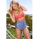 Maillot de bain femme style rétro couleur jean effet push'up