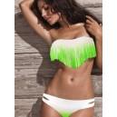 Maillot de bain femme bandeau à franges dégradé vert fluo