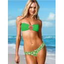 Maillot de bain femme bandeau vert avec bijou