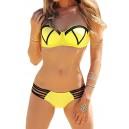 Maillot de bain femme style rétro jaune fluo effet push-up